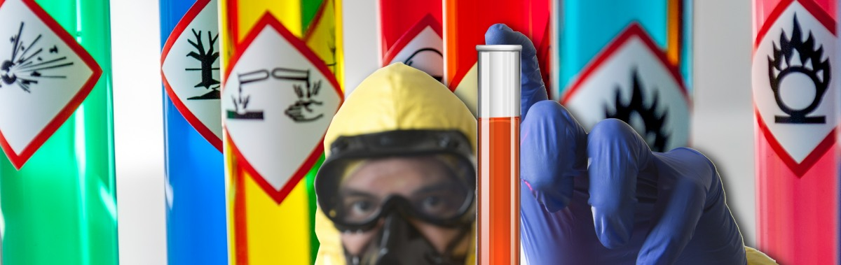 chemical hazards image with chemical suit-banner