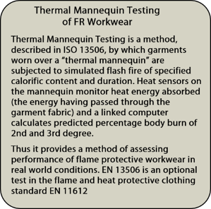 thermal mannequin testing explanation panel - Secondary FR Disposable Coveralls and the effect of the new EN 14116 Standard